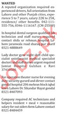 Driver, Technician, Security Guard, Nurse & Lady Doctor Jobs