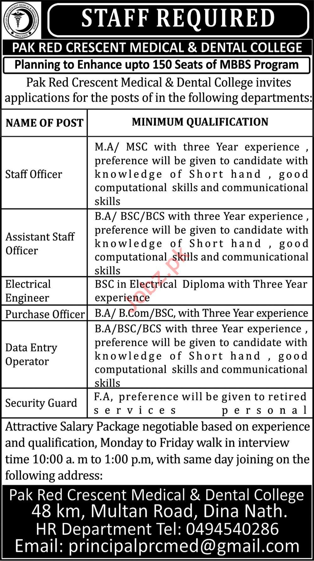 Pak Red Crescent Medical & Dental College Multan Jobs 2018