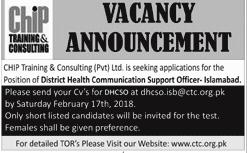 CHIP Training & Consulting Pvt Ltd Job Open