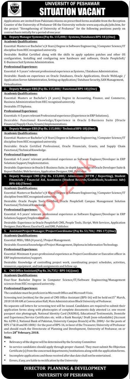 University of Peshawar Jobs 2018 for Deputy Manager