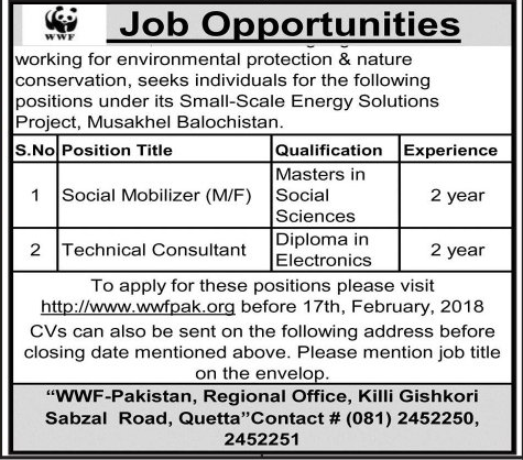 Male / Female Social Mobilizers  Job in WWF Pakistan