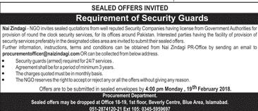 Security Guards job in Nai Zindagi  NGO