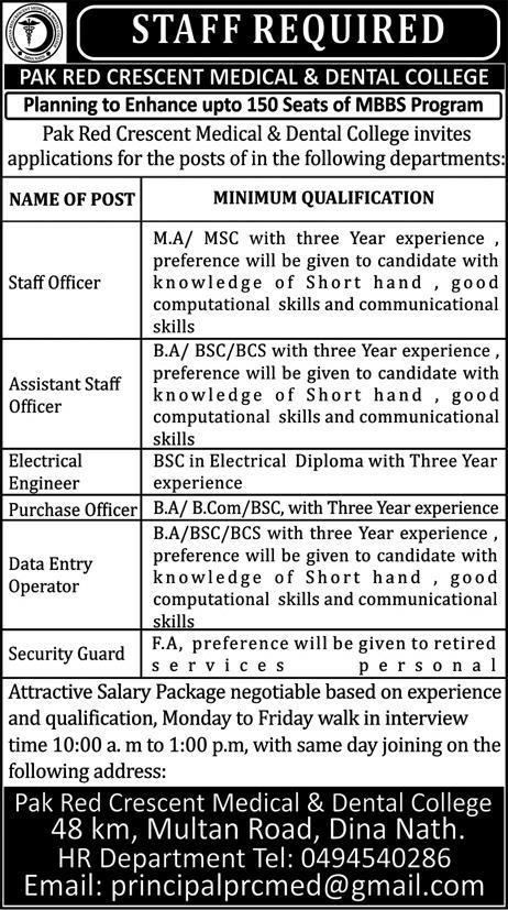 Staff Officers Job in Pak Red Crescent Medical and Dental