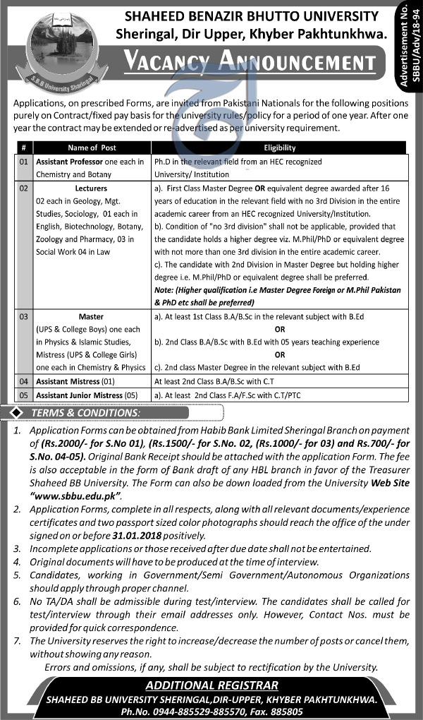 Shaheed Benazir Bhutto University Teaching Jobs