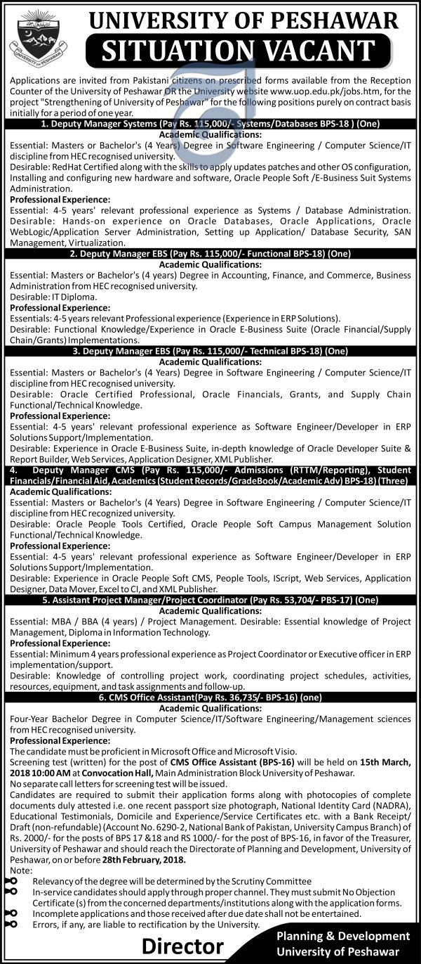 Management Jobs in University of Peshawar