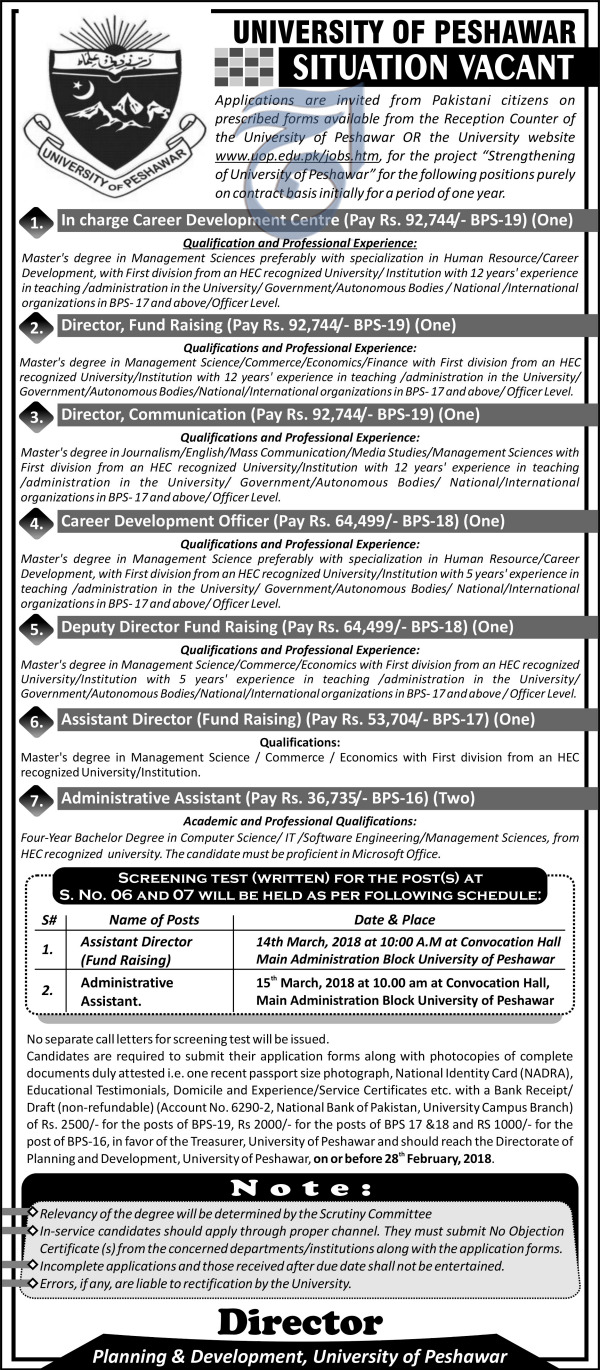 University of Peshawar UOP Jobs 2018