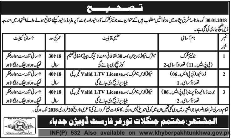 Junior Clerks, Drivers Job in  Forest Division Jdeba