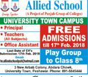 Teachers Job in Allied School in  University Town Peshawar
