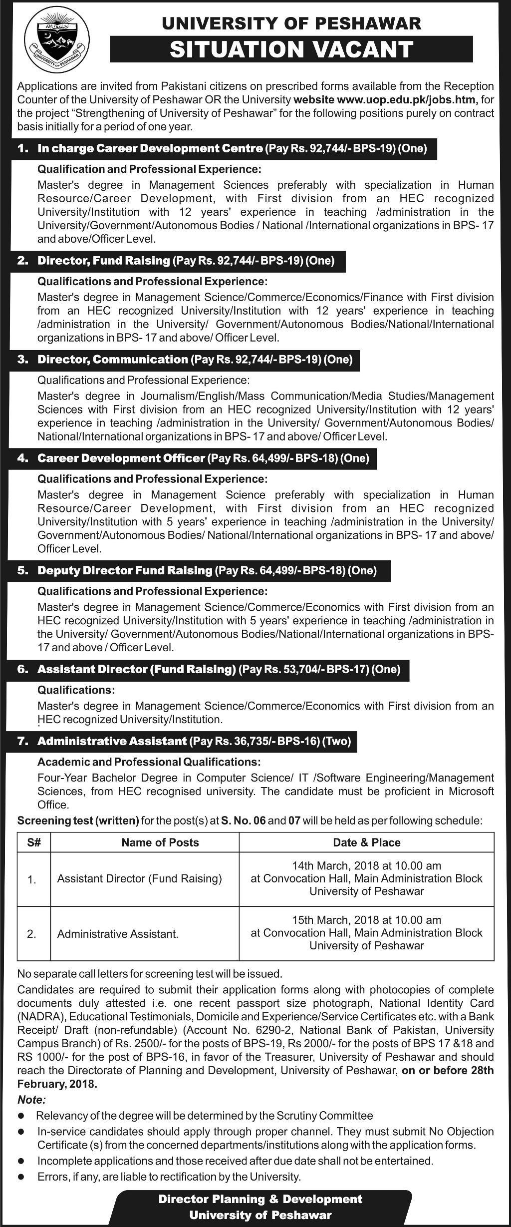 University of Peshawar UOP Directors Job 2018