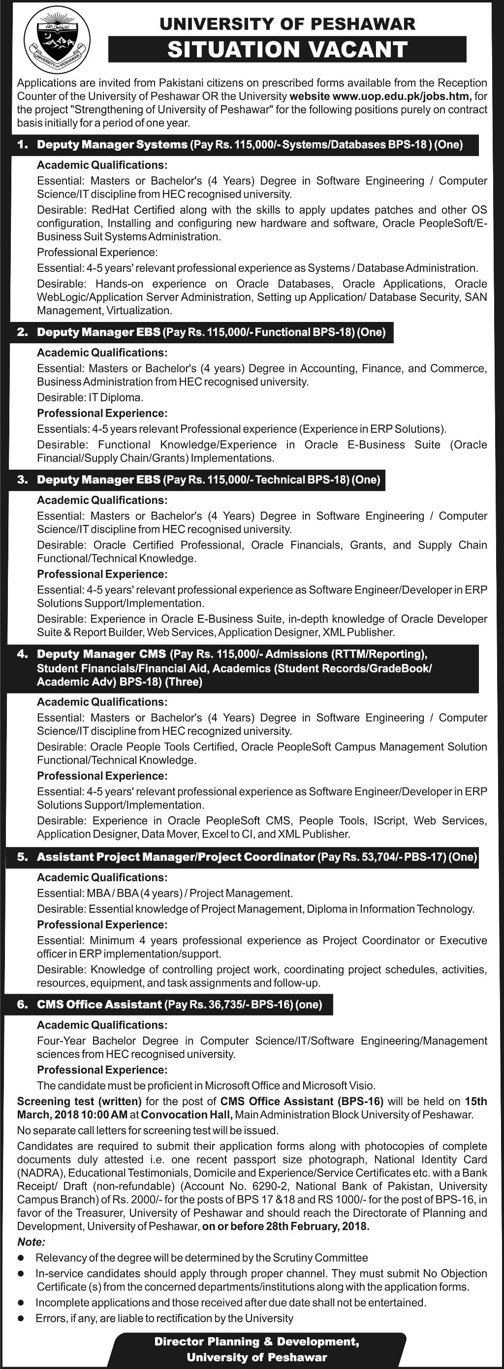 University of Peshawar UOP Management Job 2018