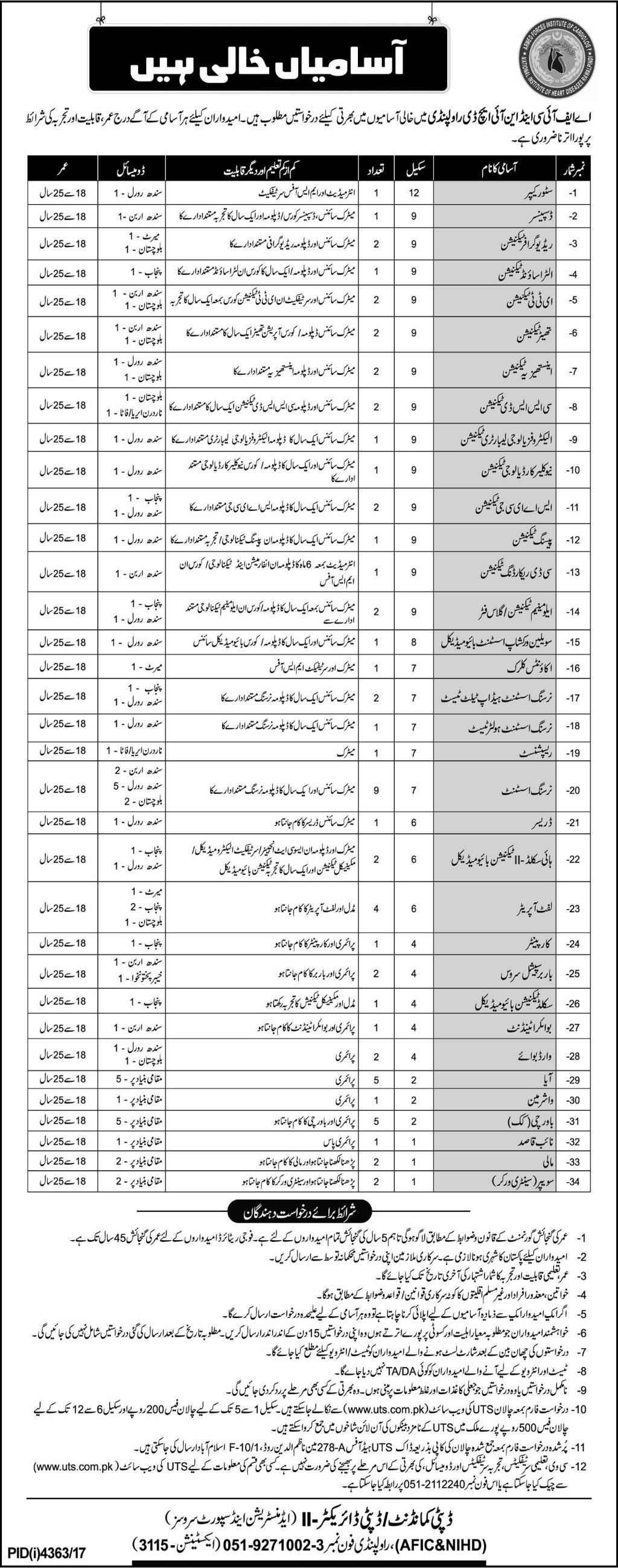 AFIC & NIHD Rawalpindi Job 2018