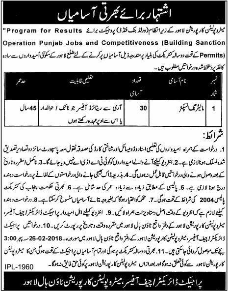 Metropolitan Corporation Lahore Jobs 2018