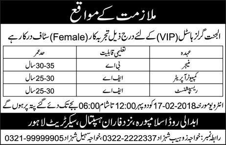 Al Janat Girls Hostel  Manager, Computer Operators Job
