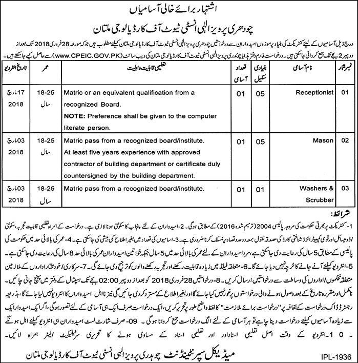 Chaudhry Pervaiz Elahi Institute of Cardiology JOb 2018