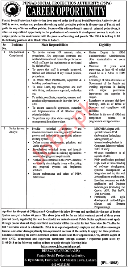 Punjab Social Security Protection Authority PSPA Lahore Jobs