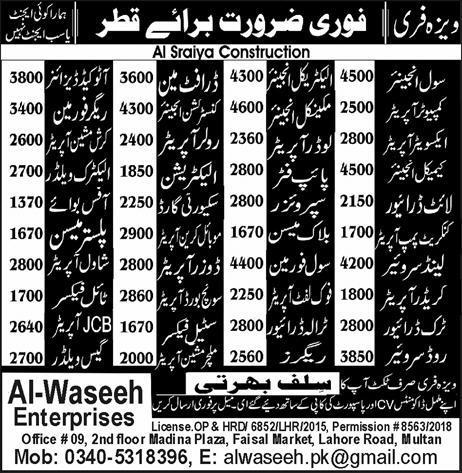 Civil Engineers, Electrical Engineers,  Block Mason Wanted