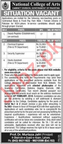 National College of Arts, Cabinet Division NCA Lahore Jobs
