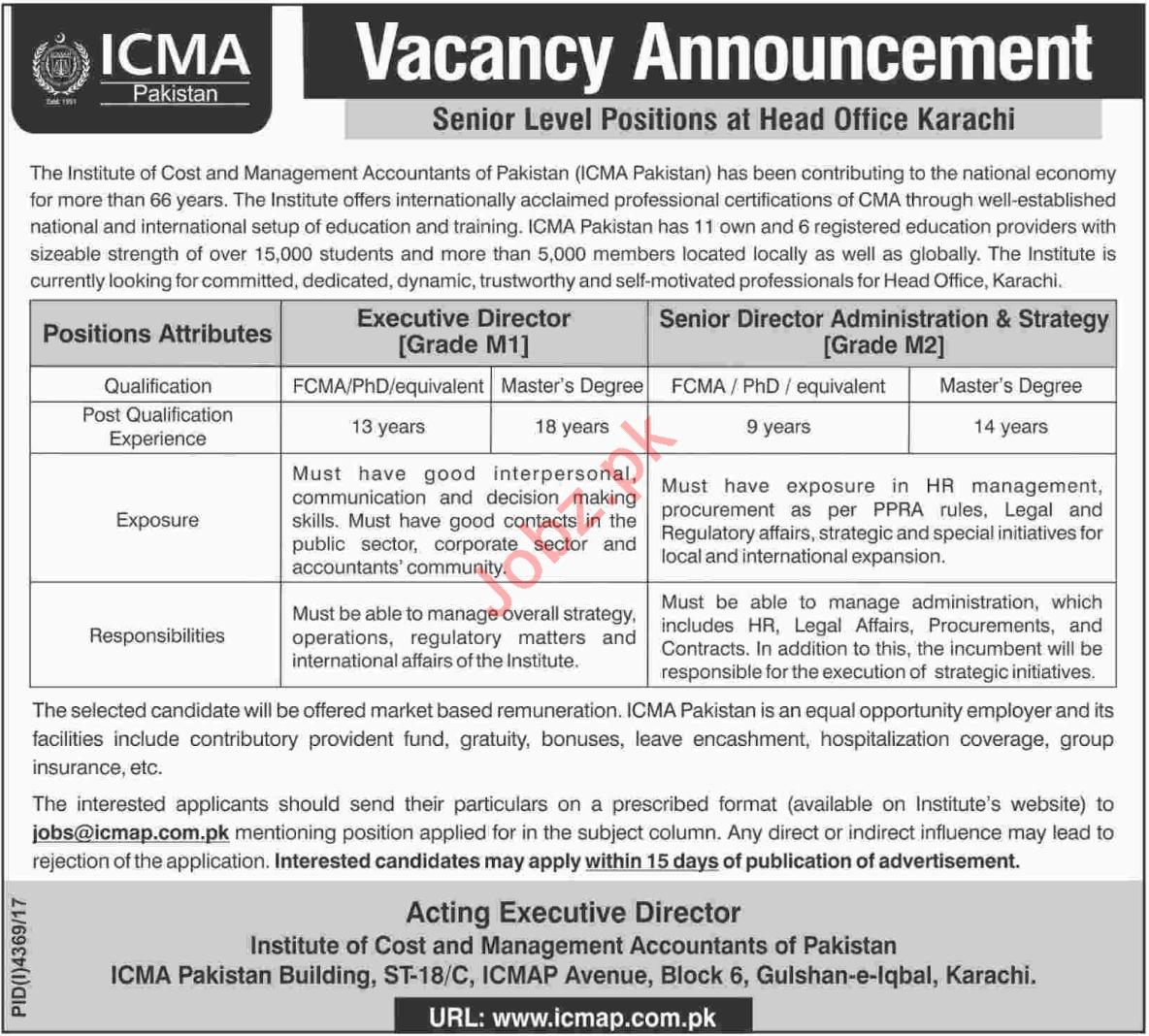 ICMA Pakistan Jobs 2018 Executive Director U0026 Senior Director