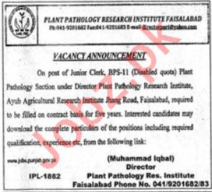 Plant Pathology Research Institute AARI Faisalabad Jobs 2018