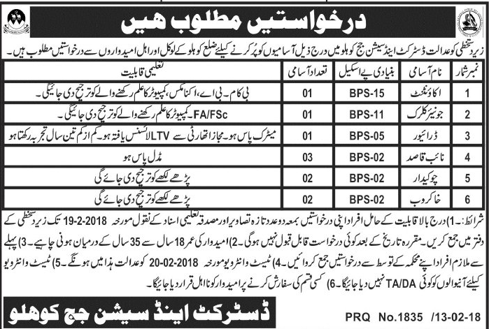 District and Session Judge Kohlu Jobs