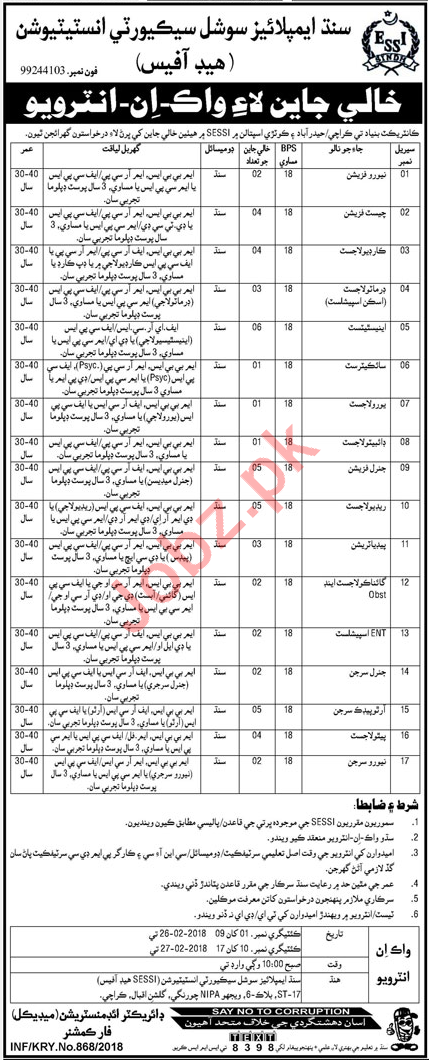 Sindh Employees Social Security Institution Jobs Interview