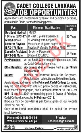 Cadet College Larkana Jobs 2018