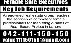 Female Sales Executives Job in Real Estate Group of Company