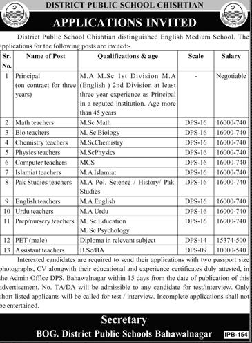 District Public School Chishtian Jobs