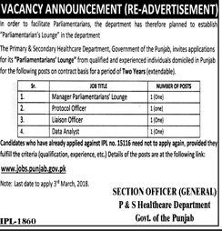 P & S Healthcare Department Government of Punjab Jobs