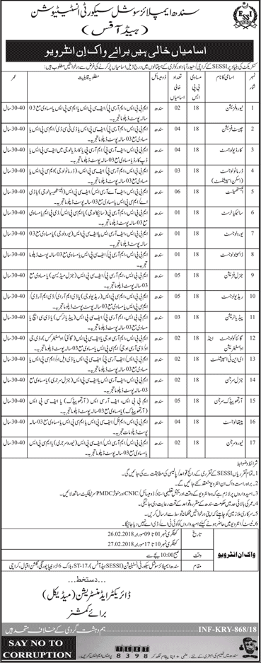 Sindh Employees Social Security Institute SESSI Jobs