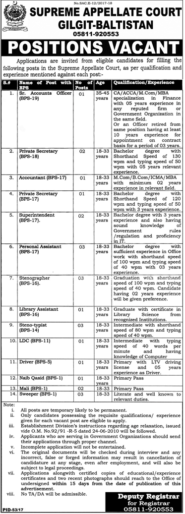 Supreme Appellate Court Gilgit- Baltistan Jobs