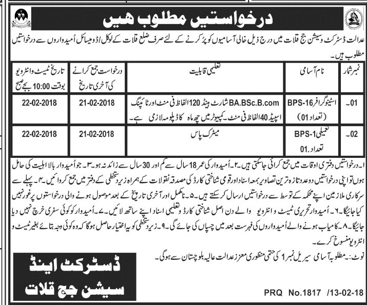 District and Session Judge Kallat Jobs