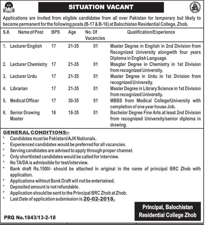 Balochistan Residential College Teaching Jobs