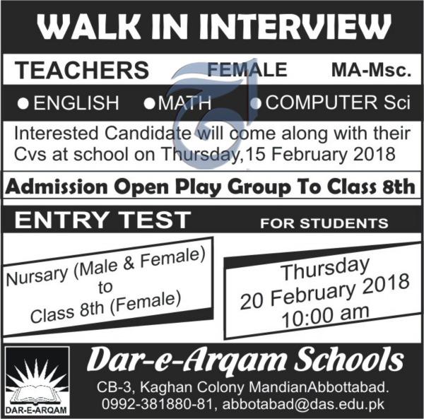 Dar-e-Arqam Schools Abbottabad Teachers Jobs