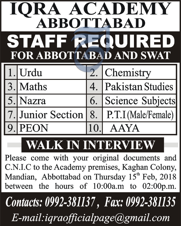 Iqra Academy Abbottabad Teaching Jobs