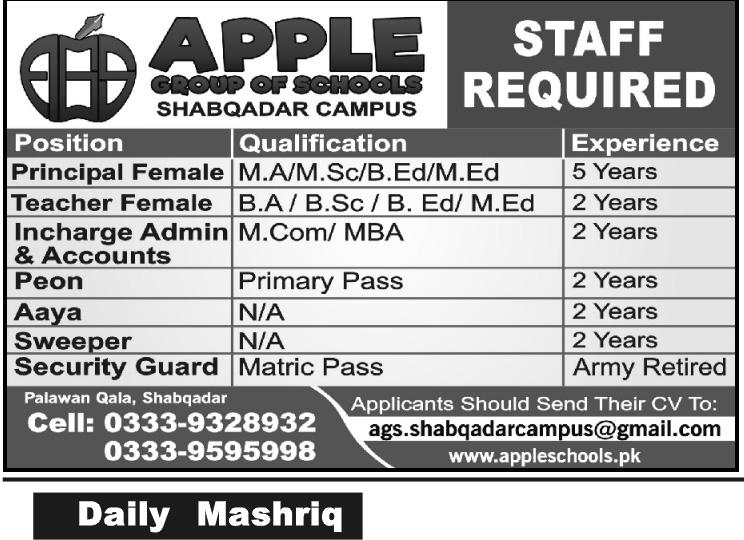Apple Group of Schools Shabqadar Campus Jobs