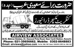 Concrete Mixture Drivers Job in Saudi Arabia