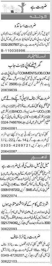 Data Entry Operators, Teachers Job Opportunity