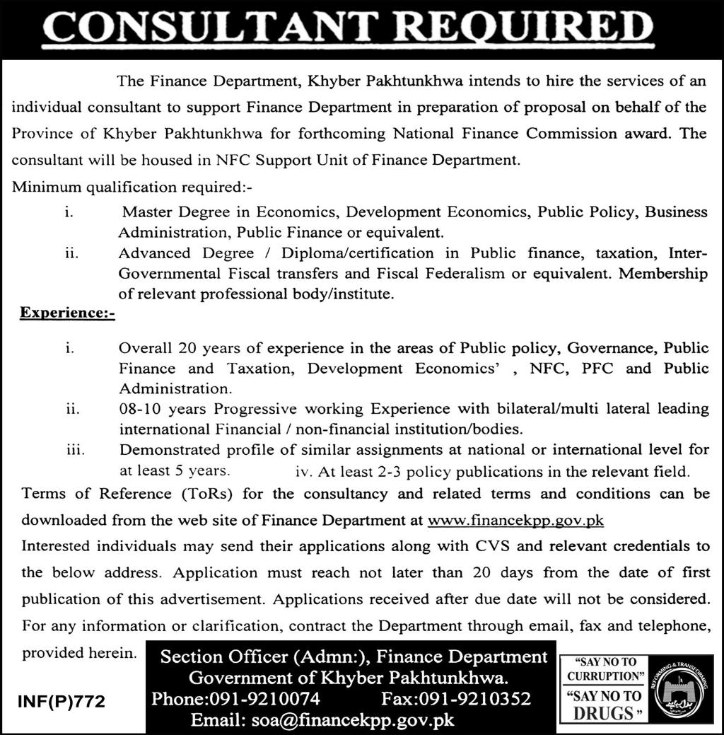 Finance Department Khyberpakhtunkhawa Consultant Jobs