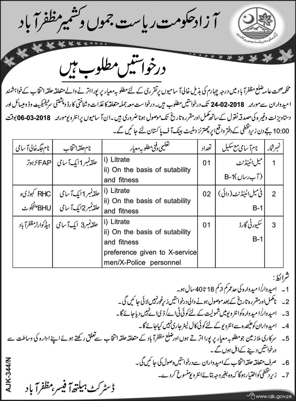 Health Department Government of  AJK Jobs