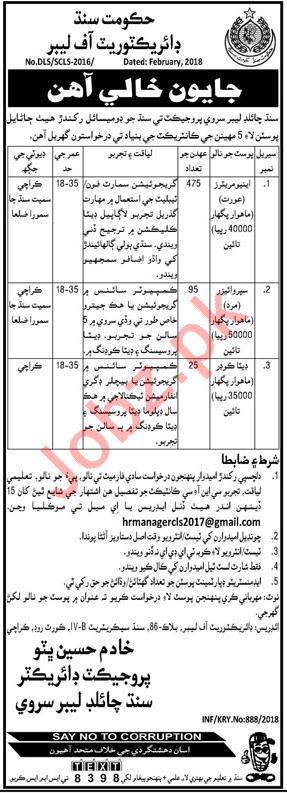 Directorate of Labor Sindh Jobs 2018