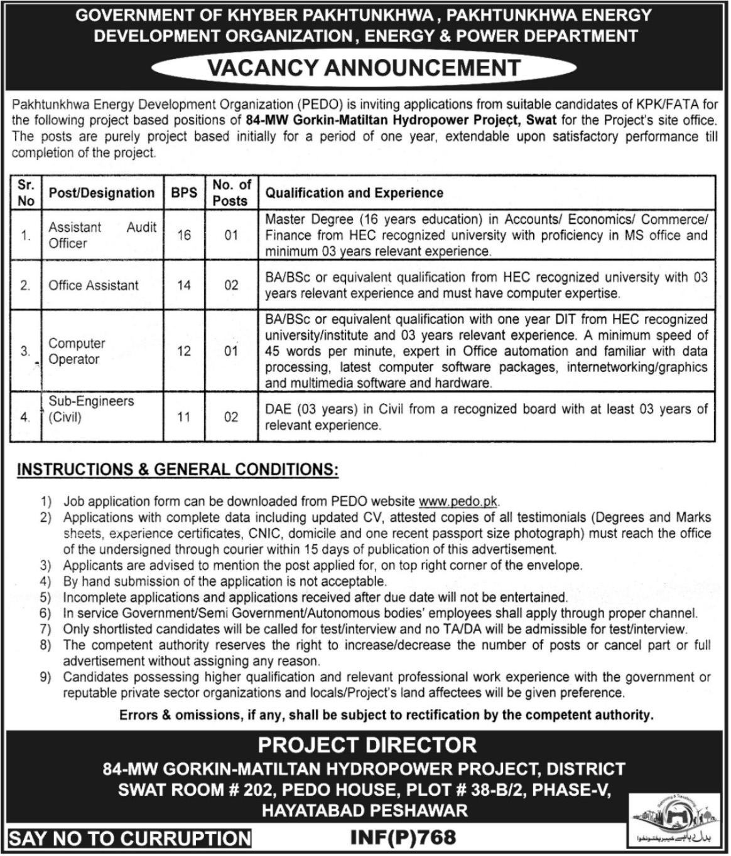 Pakhtunkhwa Energy Development Organization Jobs