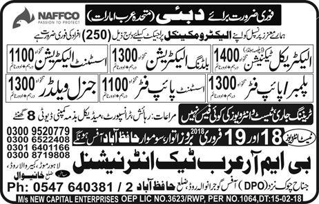 Electrical Technicians, Building Electricians Job in NAFFCO