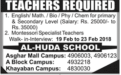 Male / Female Teachers Job in Al Huda School 2019 Job