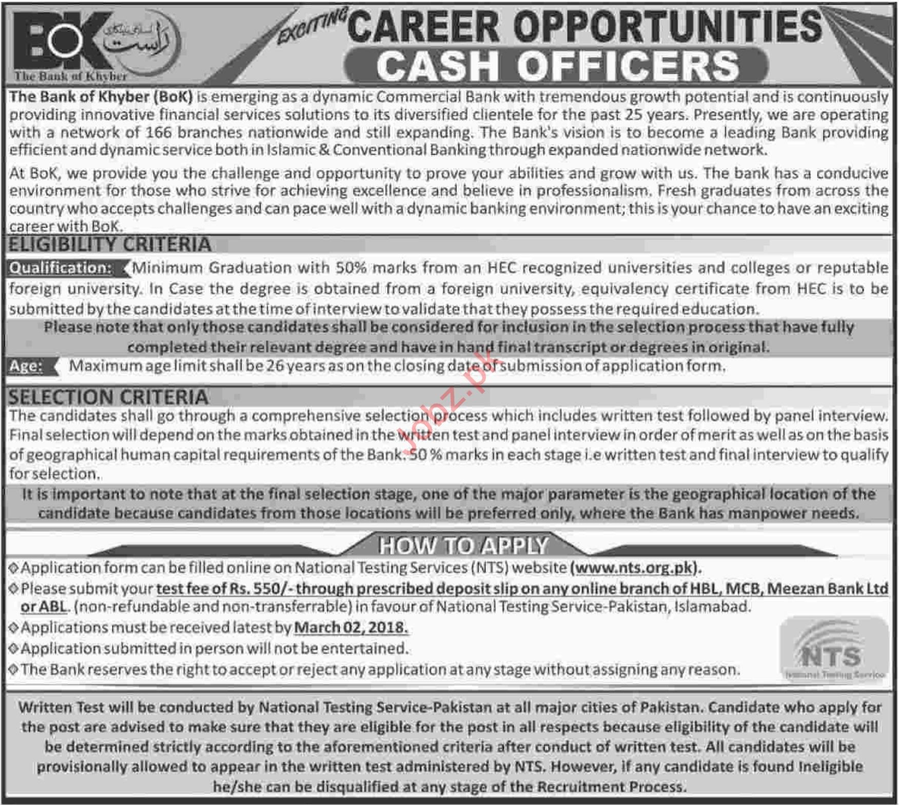 The Bank of Khyber BOK Karachi Jobs for Cash Officer