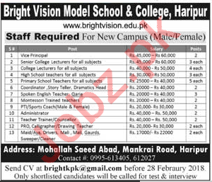Bright Vision Model School & College Haripur Jobs 2018