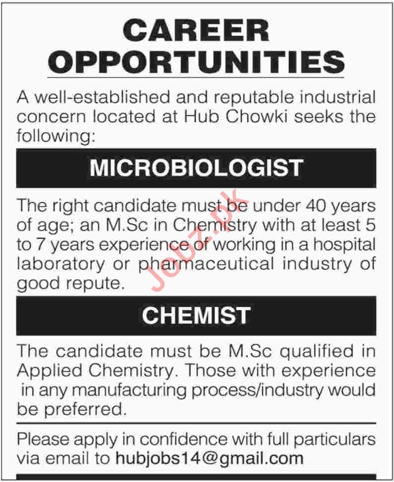 Microbiologist & Chemist Jobs in Karachi 2019 Job Advertisement Pakistan