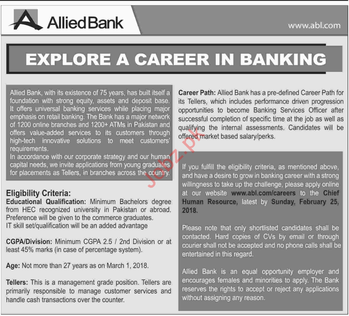 Banks Jobs In Karachi 2019