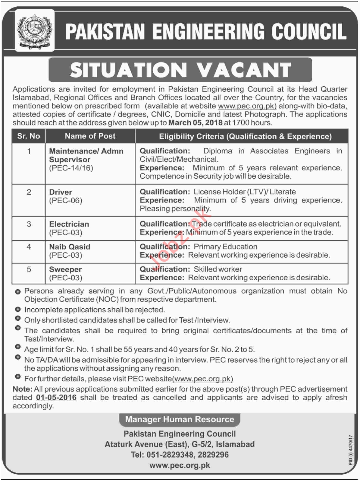 PEC Islamabad Jobs 2018 for Supervisor, Driver & Electrician
