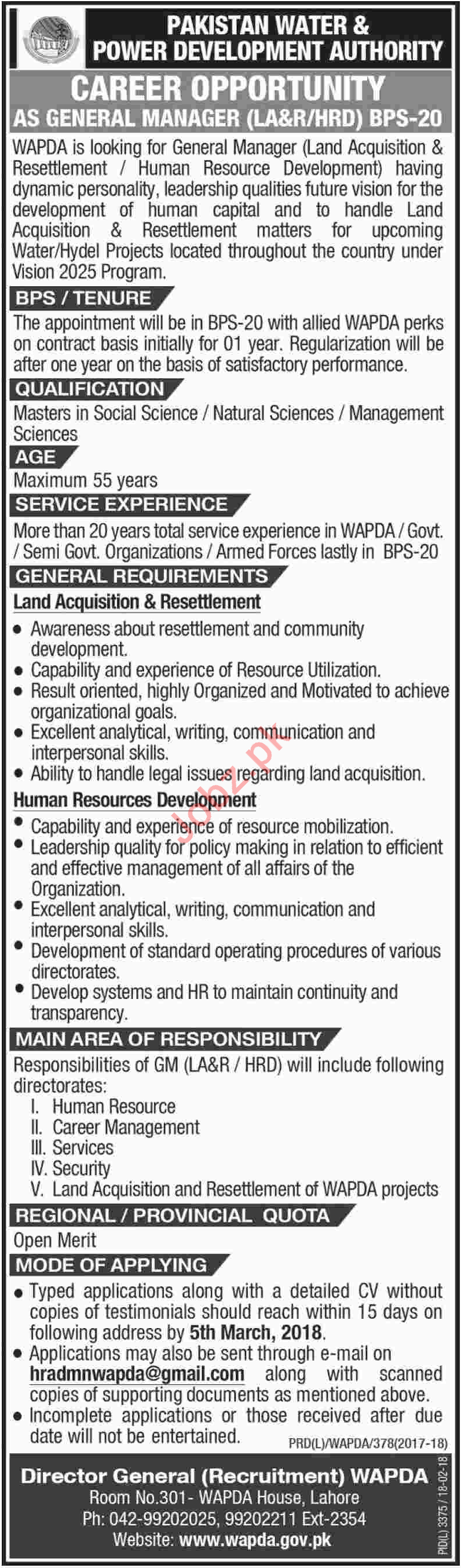 Water & Power Development Authority Lahore Jobs 2018